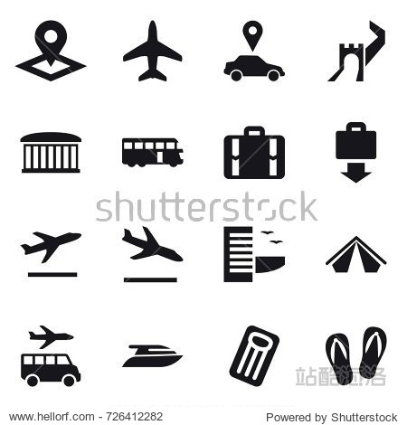 16 vector icon set : pointer  plane  car pointer  greate wall  airport building  bus  suitcase  baggage get  departure  arrival  hotel  tent  transfer  yacht  inflatable mattress  flip-flops