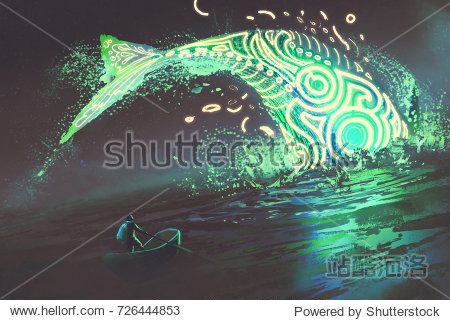 fantasy scenery of man on boat looking at the jumping glowing green whale in the sea  digital art style  illustration painting