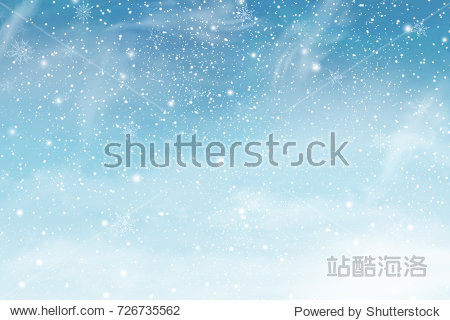 Winter sky with falling snow. Falling snow  snowflake on a blue sky. Holiday Winter background for Merry Christmas and Happy New Year. Falling snow background. Snowfall background.  illustration