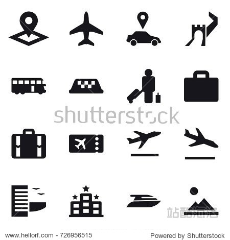 16 vector icon set : pointer  plane  car pointer  greate wall  bus  taxi  passenger  suitcase iocn  suitcase  ticket  departure  arrival  hotel  yacht  landscape