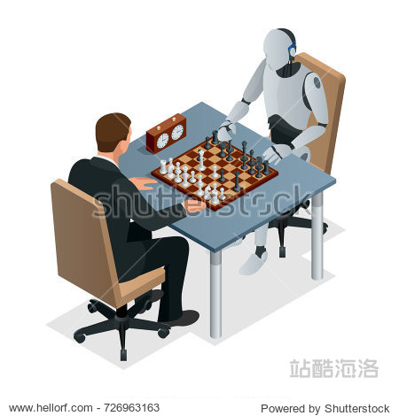 Isometric chess game with artificial intelligence concept. Artificial intelligence technology. Robot hand plays chess  arm makes a move with rook isolated vector illustration