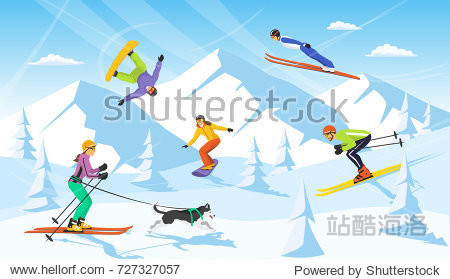 winter vacation ski resort scene. man and woman cross country skiing  jumping  snowboarding