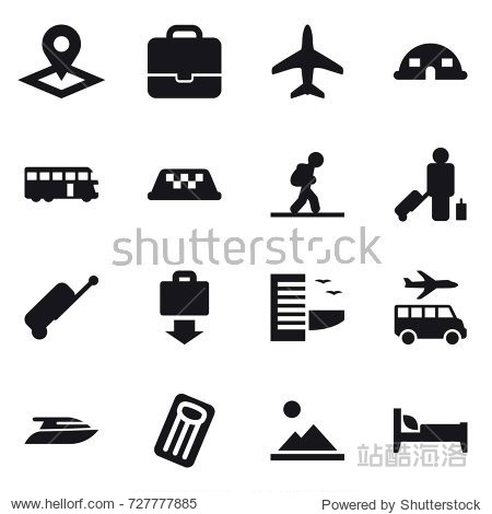16 vector icon set : pointer  portfolio  plane  dome house  bus  taxi  tourist  passenger  suitcase  baggage get  hotel  transfer  yacht  inflatable mattress  landscape  bed