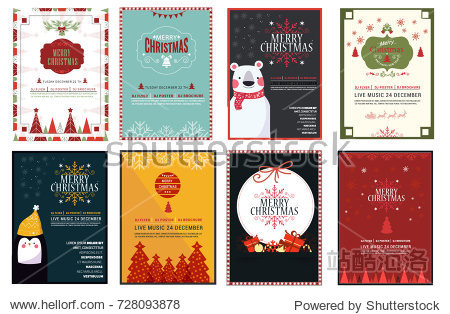 Set of Chrsitmas flayer design template  vector ilustration