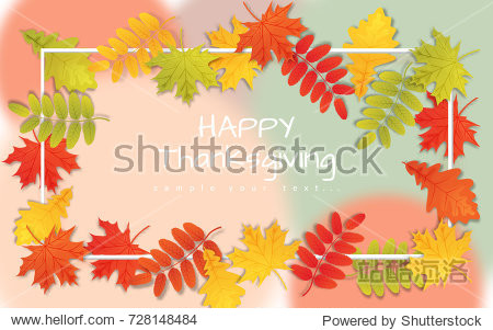 Happy Thanksgiving Day background with autumn leaves and border.
