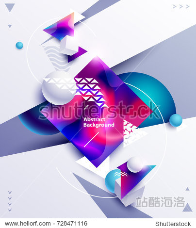Abstract background of multicolored cubes and balls on white background