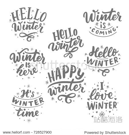 Hand drawn lettering set with phrases hello winter  love winter  it's winter time  winter coming for card  print  overlay  decor  poster  banner.