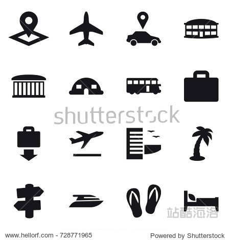 16 vector icon set : pointer  plane  car pointer  airport building  dome house  bus  suitcase iocn  baggage get  departure  hotel  palm  signpost  yacht  flip-flops  bed