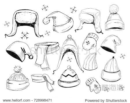 Set of hats  scarves  mittens. Hand drawn illustration converted to vector