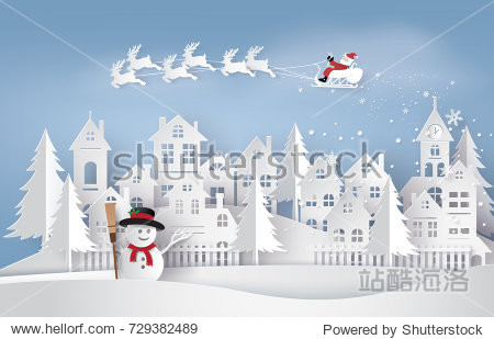Merry Christmas and Happy New Year. Illustration of Santa Claus on the sky coming to City  paper art and craft style