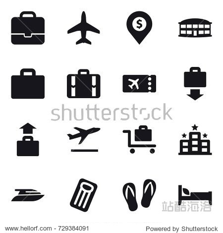 16 vector icon set : portfolio  plane  dollar pin  airport building  suitcase iocn  suitcase  ticket  baggage get  baggage  departure  baggage trolley  hotel  yacht  inflatable mattress  flip-flops