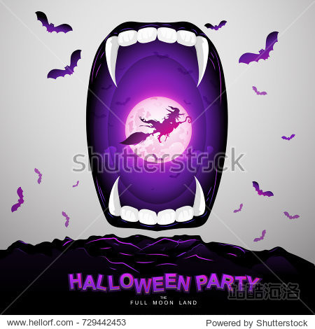 Halloween Party Vector Concept Full Moon Land.