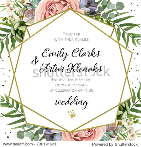 Wedding Invitation  floral invite card Design: Peach lavender pink garden Rose  succulent  wax  eucalyptus  green palm leaves  forest fern greenery geometric golden frame print. Vector cute copy space