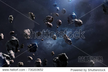 Meteorites. Deep space image  science fiction fantasy in high resolution ideal for wallpaper and print. Elements of this image furnished by NASA