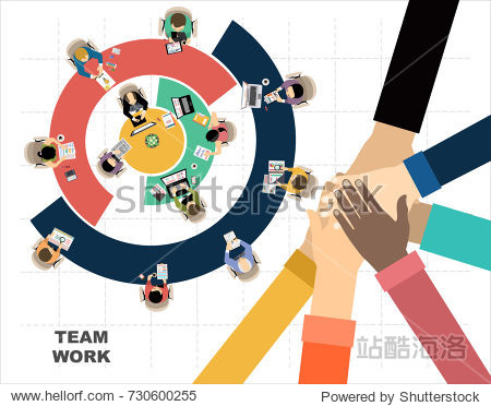 Flat design illustration concepts for business analysis and planning  consulting  team work  project management. Business  team work  cooperation and partnership.