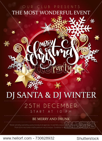 Vector illustration of christmas party poster with hand lettering label - christmas - with stars  sparkles  snowflakes and swirls