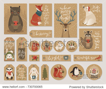 Christmas kraft paper cards and gift tags set  hand drawn style. Vector illustration.