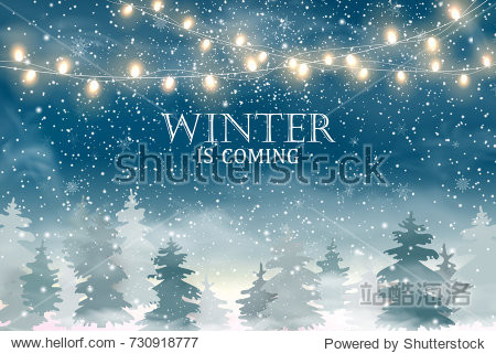 Winter is coming. Winter Christmas Woodland Landscape with  snow  lights  christmas tree. Winter landscape. Merry Christmas concept for flyer  banner  invitation  congratulation  poster design. Vector