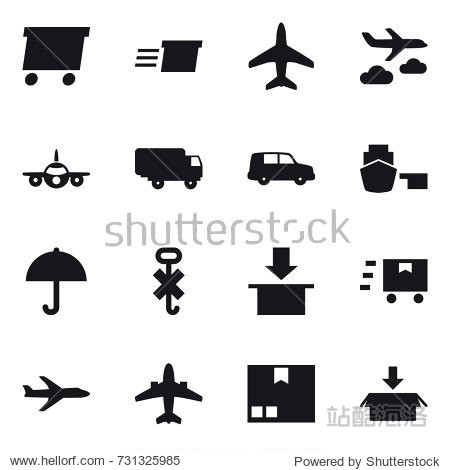 16 vector icon set : delivery  plane  journey  airplane  package