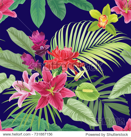Tropical flowers seamless pattern with leaf on dark blue background. Vector set of exotic tropical garden for wedding invitations  greeting card and fashion design.