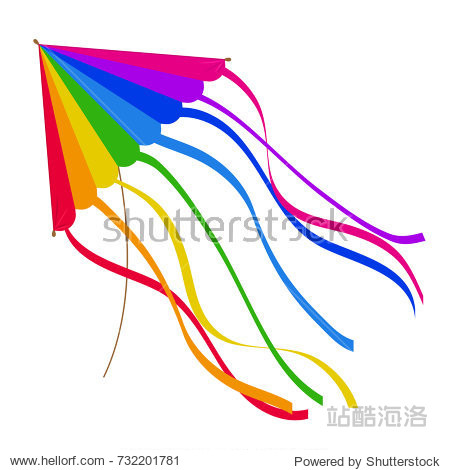 Colorful kite isolated on white background. Vector illustration