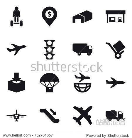 16 vector icon set : hoverboard  dollar pin  warehouse  gas station  plane  escalator  sweeper