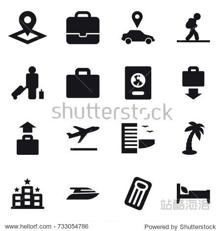 16 vector icon set : pointer  portfolio  car pointer  tourist  passenger  suitcase iocn  passport  baggage get  baggage  departure  hotel  palm  yacht  inflatable mattress  bed