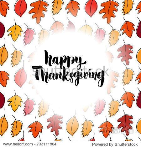 Happy thanksgiving. Hand drawn lettering on background with leaves. Design element for poster  card  banner. Vector illustration
