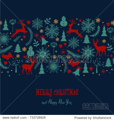 Christmas background in retro style lettering and decorative winter elements. Illustration for greeting card  banner  poster. Christmas pattern  wrapping  Wallpaper  textile. Vector background.