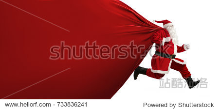 Santa Claus with a huge bag  on the run to  delivery christmas gifts isolated on white background