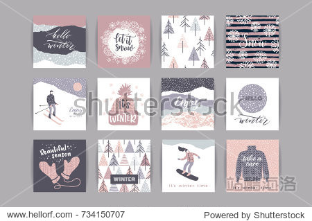 Set of artistic creative winter cards. Hand Drawn textuires. Design for poster  card  invitation  placard  brochure  flyer. Vector templates.