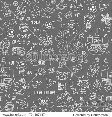 seamless pattern Pirate party for children Kindergarten Kids children drawing style illustration Picutre with pirate  whale  treasure island  treasure map  skulls  flag  ship Birthday party