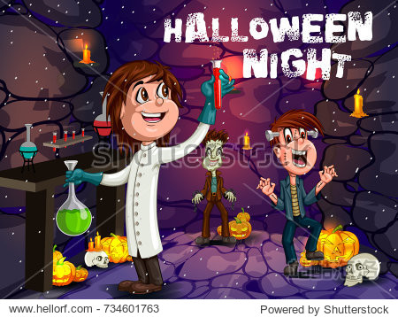 Happy Halloween haunted background with kids in scary costume. Vector illustration