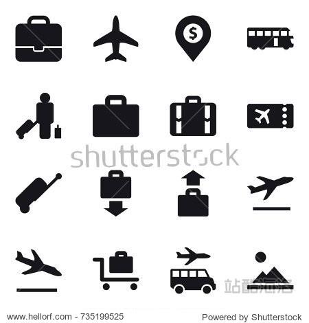 16 vector icon set : portfolio  plane  dollar pin  bus  passenger  suitcase iocn  suitcase  ticket  baggage get  baggage  departure  arrival  baggage trolley  transfer  landscape
