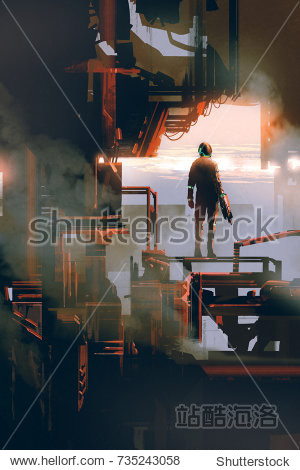 space man standing in industrial building  digital art style  illustration painting