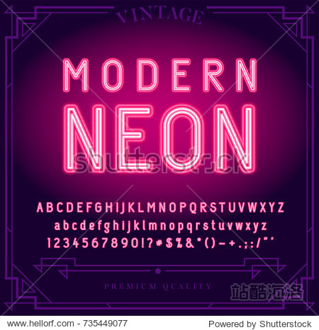 Bright Neon Alphabet Letters  Numbers and Symbols Sign in Vector. Night Show. Night Club.