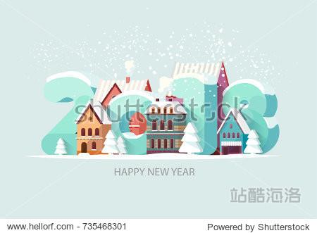 New year 2018. Greeting card.