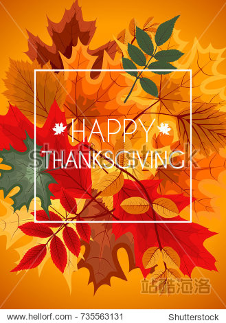 Abstract  Illustration Autumn Happy Thanksgiving Background with Falling Autumn Leaves.
