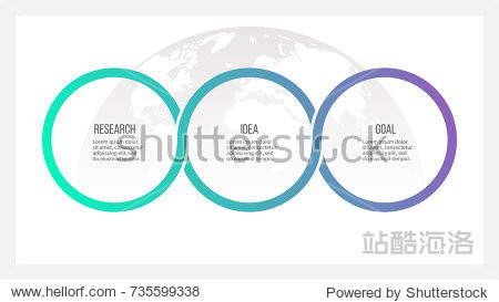 Business process. Timeline infographics with 3 options  circles. Vector template.