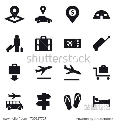16 vector icon set : pointer  car pointer  dollar pin  dome house  passenger  suitcase  ticket  baggage get  departure  arrival  baggage trolley  transfer  signpost  flip-flops  bed