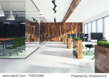 Natural style open space office interior with loft windows  a wooden floor  an aquarium like conference room area and rows of computer desks. 3d rendering