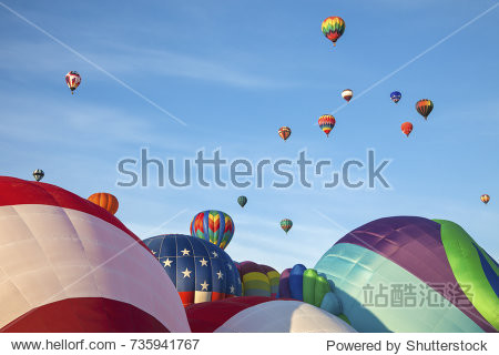 Hot air balloons and blue sky. Albuquerque  New Mexico  USA.