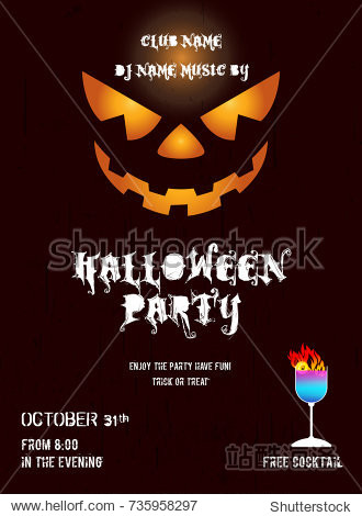 Happy Halloween Party Poster with scary pumpkin face.