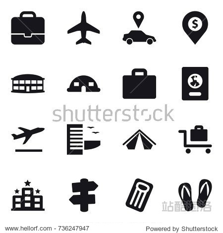 16 vector icon set : portfolio  plane  car pointer  dollar pin  airport building  dome house  suitcase iocn  passport  departure  hotel  tent  baggage trolley  signpost  inflatable mattress