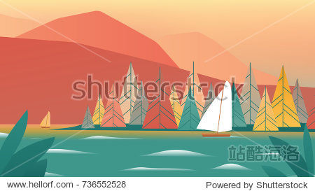 Sailboat sailing in the lake with beautiful autumn scenery landscape