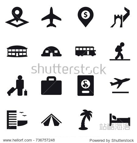 16 vector icon set : pointer  plane  dollar pin  greate wall  airport building  dome house  bus  tourist  passenger  suitcase iocn  passport  departure  hotel  tent  palm  bed