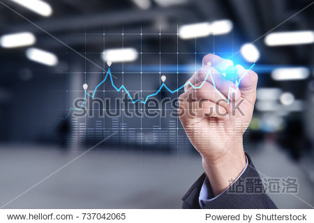 Diagrams and graphs on virtual screen. Business strategy  data analysis technology and financial growth concept.