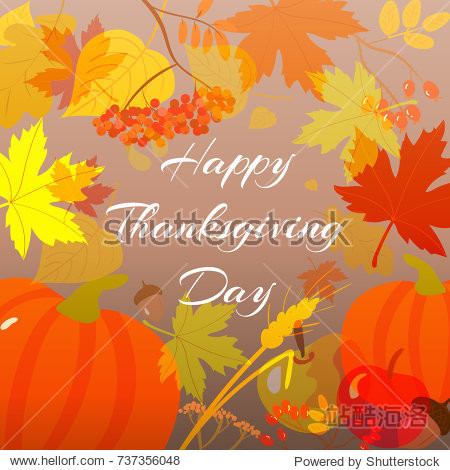 Happy Thanksgiving vector illustration with autumn harvest  leaves  fruits and congratulation.