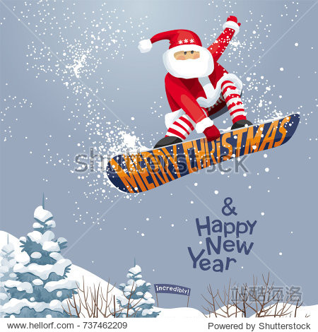 """""""Merry Christmas and Happy New year""""   vector Christmas card for snowboarders - Santa grabs. His  snowboard  in  xmas style. For  posters  banners  sales and other winter events."""