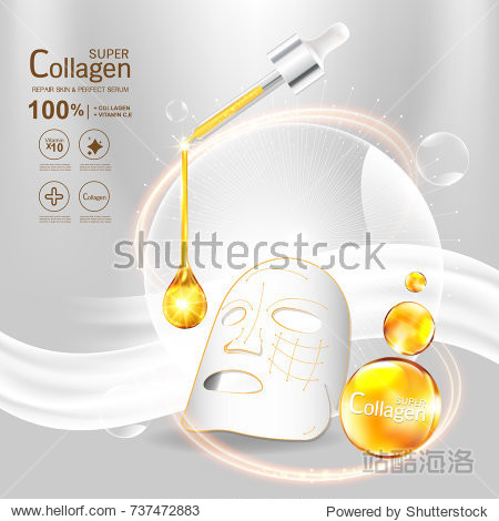 Super Collagen or Serum Vitamin Vector Background Skin Care Cosmetic concept.